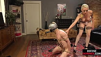 Dominatrix Clamps Sub Then Pegs His Ass