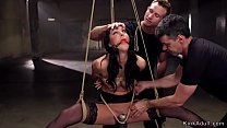 Gagged babe whipped in suspension thumbnail
