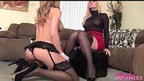Hot blonde boss makes maid eat pussy thumbnail