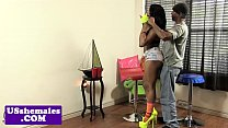 Black tgirl assfucked while jerking video