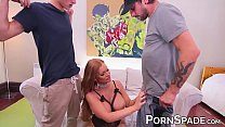 Curvacious MILF works on two cocks in DP threesome Image