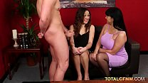 Two curvy babes suck a big hard cock in CFNM