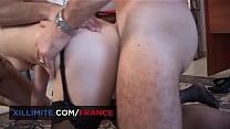 Threesome At The Office With A Cougar In Stockings