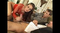 Brunnete slut in mini skirt gets dp Image