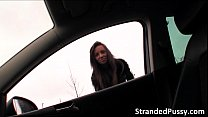 Stranded teen Gina Devine hitch hikes into a car and gets fucked in there