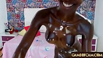 Jaw-dropping shining oily ebony college girl masturbates and squirts thumbnail