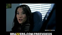 Office assistant Asa Akira shows her boss her f...