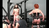 Rough scenes of home bondage with naked playgirl with shaved pussy Preview
