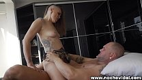 This girl with natural breasts offers her body to Nacho Vidal. He puts his huge cock in his wet cave; through doggy style sex he cums in her pussy. صورة