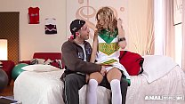 Anal addict Erica Fontes gets DP'ed in Cheerleader costume thumbnail