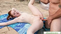 Petite redhead teen fucked by a big guy