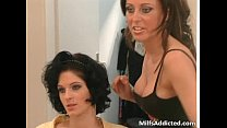 Two hot brunette sluts fuck each other