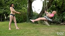 Busty Step Sisters experience outdoor Lesbian Loving preview image