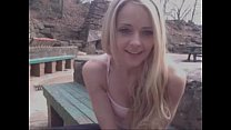 Hot Blond Teen Fucks Herself At Public Monument  - PornAero.com