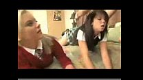 Two college babes doing anal sex with innocent boy