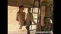 Asian slut hanging on some ropes fucked by the ...