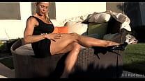 Big muscular feminine legs in high heels