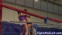 Bigtitted dyke wrestling with babe Thumbnail