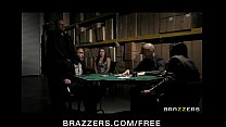 Horny brunette wife in lingerie fucks to pay husband's poker debt