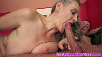 Saggy european granny spoon fucked after bj