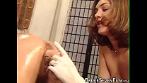 Pretty lesbian dildo fucked in the ass by busty vixen