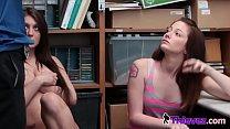 Brunette teen chicks doubling up on a shaft to avoid jail video