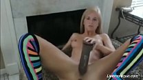skinny slut use huge dildo mought and pussy