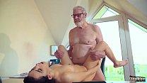 Teen fucks old man rides his big cock and sucks it deepthroat licking his balls صورة