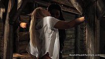 Slave In Stockings Tied To Bed And Touched
