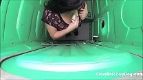 Latina swallows cum at construction site in public porta potty glory hole