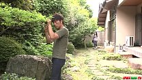 Busty milf Rie Tachikawa tries young cock in her furry pussy  - More at Japanese thumbnail