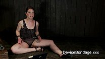 Strapped babe in metal chair waxed