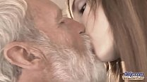 Old Young - Big Cock Grandpa Fucked by Teen she licks thick old man penis preview image