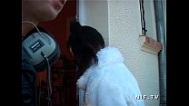 Petite french asian whore in fishnet stockings gets her ass nailed