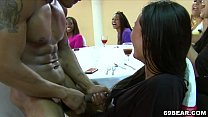 Horny ladies enjoy blowjob party with male strippers