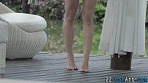 Kinky blonde foot tugging