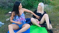 Kira Queen and her sexy ttooed GF plays with sex-toys outdoor - 9Club.Top