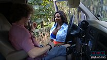 Image: Huge tits black MILF causes and solves an accident