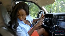 Huge tits black MILF causes and solves an accident
