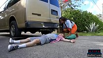 hushpass com & Huge tits black MILF causes and solves an accident thumbnail
