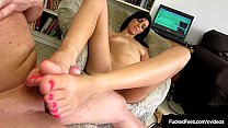 Young Latina Layla Lopez Foot Fucks Cock With Her Tiny Feet! صورة