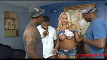 Busty woman asshole fucked by black men preview image