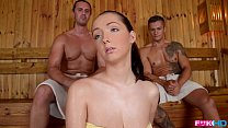 FuckinHD - Lucie Wilde hot Fuck with 2 guys in the Sauna - download porn videos