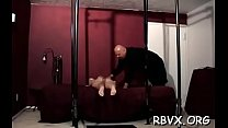 Hotty in excited outfit gets orgasams while being bounded