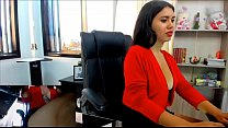 Naughty Shana plays in the office.