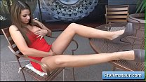 Blonde cutie amateur Aveline wearing a sexy red dress fnger fuck her pierced pussy in public thumbnail