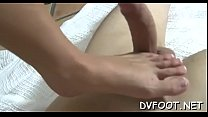 Astonishing hottie grinds balls and dick with her hot sexy feet