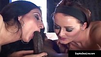 Sophie Dee & Luscious Lopez have an interracial...