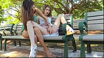 Playing with her pussy in the park thumbnail