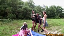 Femdoms jerking cfnm sub outdoors in group - 9Club.Top
